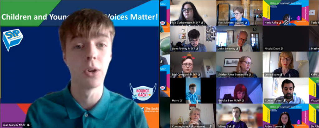 SYP Chair, Josh Kennedy presents to the Cabinet Takeover meeting.