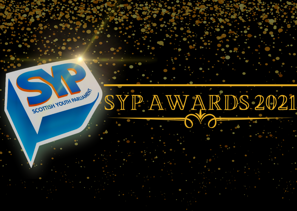 Black image with Sparkly gold glitter falling down the image and the SYP Logo alongside gold text that says' SYP Awards 2021