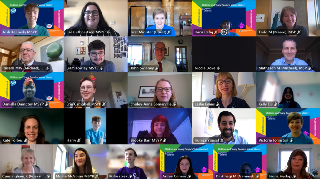 Teams meeting screenshot of MSYPs, MCPs and Members of the Scottish Government Cabinet at the Cabinet Takeover event in 2021