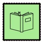 Green graphic with a book on it