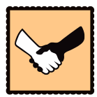 An orange graphic of a white and black arm shaking hands