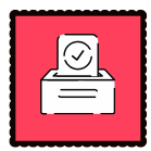 A red graphic with a ballot box on it