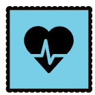 A blue graphic with a heart rate image on it
