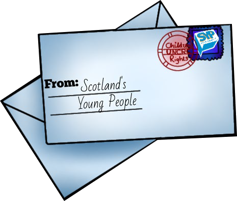 A graphic of a letter that says 'From Scotland's young people' on it