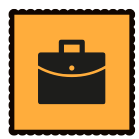 An orange graphic with a black briefcase on it