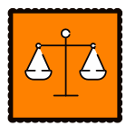 An orange graphic of the scales of justice