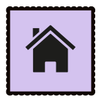 A purple graphic of a house