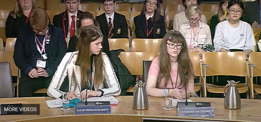 A screen shot of Catherine Mackie MSYP and Alice Fergusson MSYP giving evidence to the Education and Skills Committee
