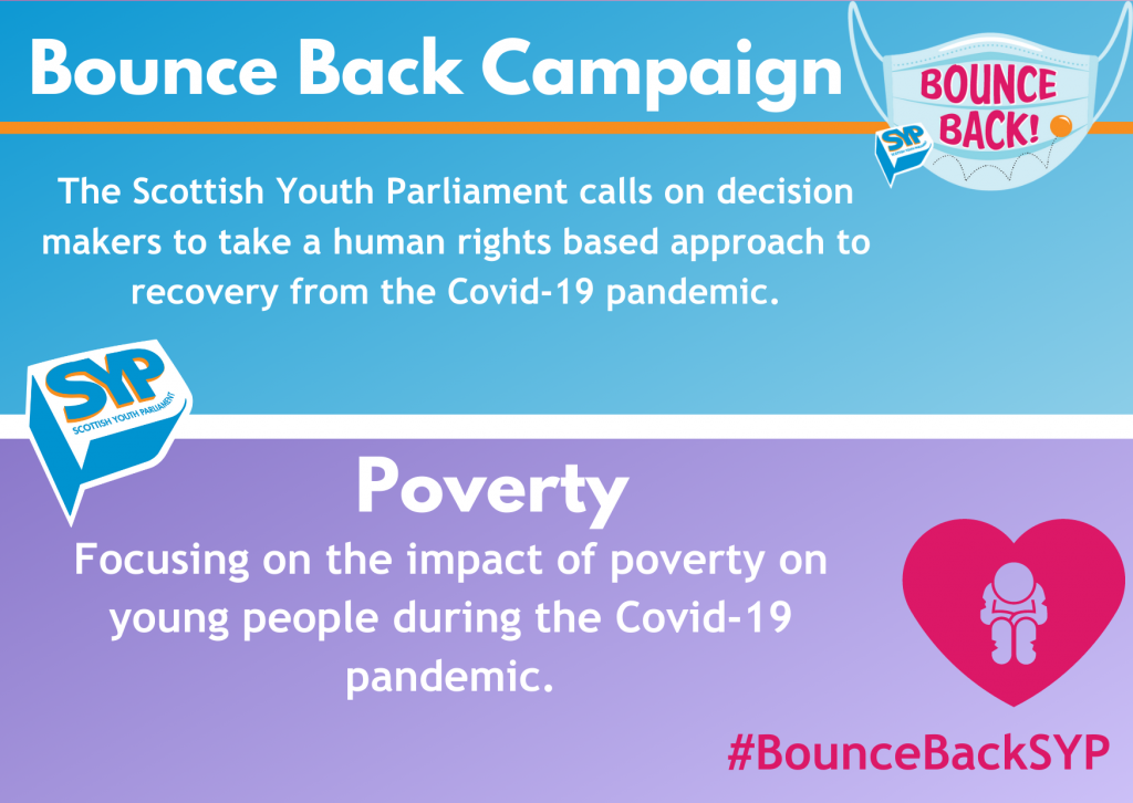 """Blue and Pink graphic with the SYP Bounce Back Logo on it. The text on the image says """"Bounce Back campaign -- The Scottish Youth Parliament calls on decision makers to take a human rights based approach to recovery from the Covid-19 pandemic. -- Poverty -- Focusing on the impact of poverty on young people during the Covid-19 pandemic."""""""